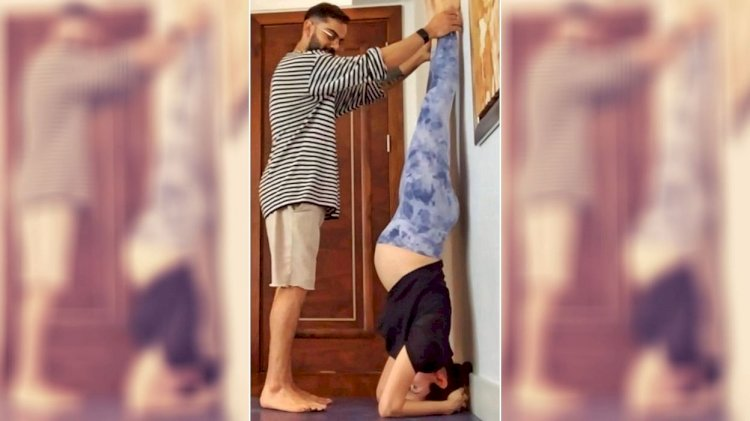 Anushka Sharma yoga with Virat Kohli's support