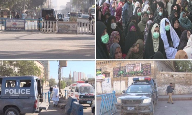 Clash At Hazara Protest Karachi, Motorcycles Burnt
