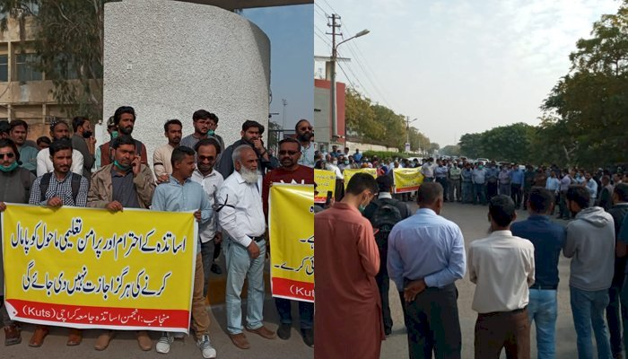 KU Teachers Protest Outside IBA After Students Roughed Teacher